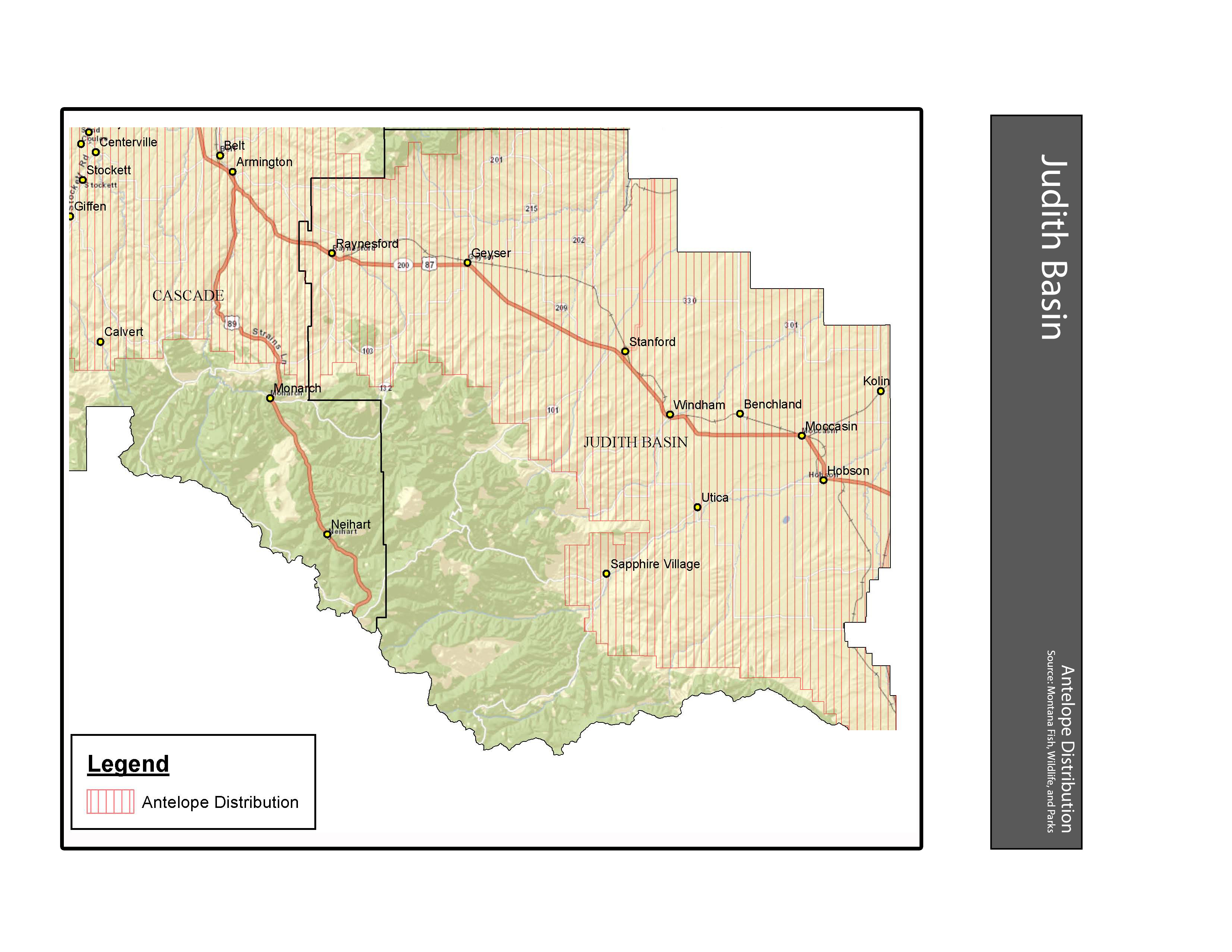 Antelope Distribution Judith Basin County