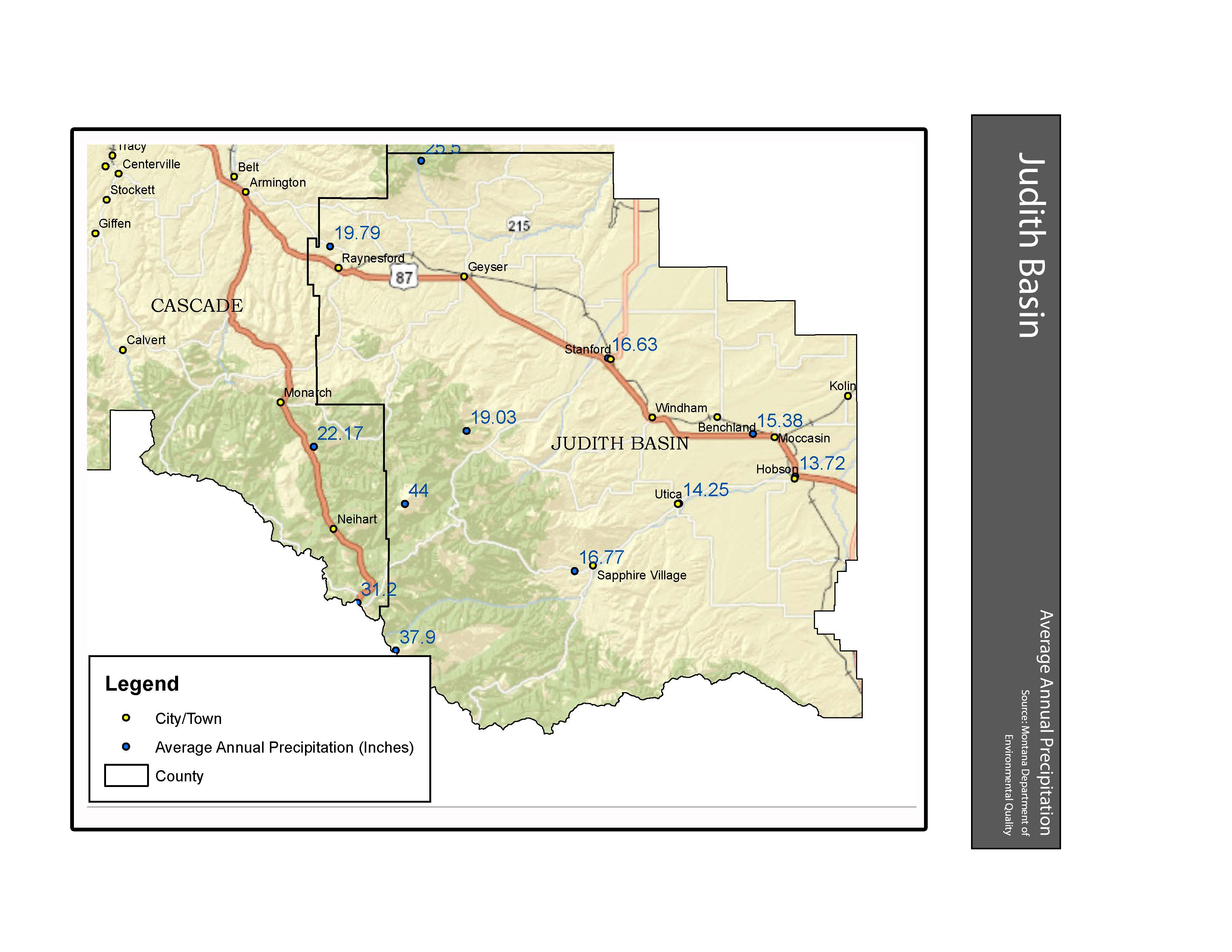 Average Annual Precipitation Judith Basin County