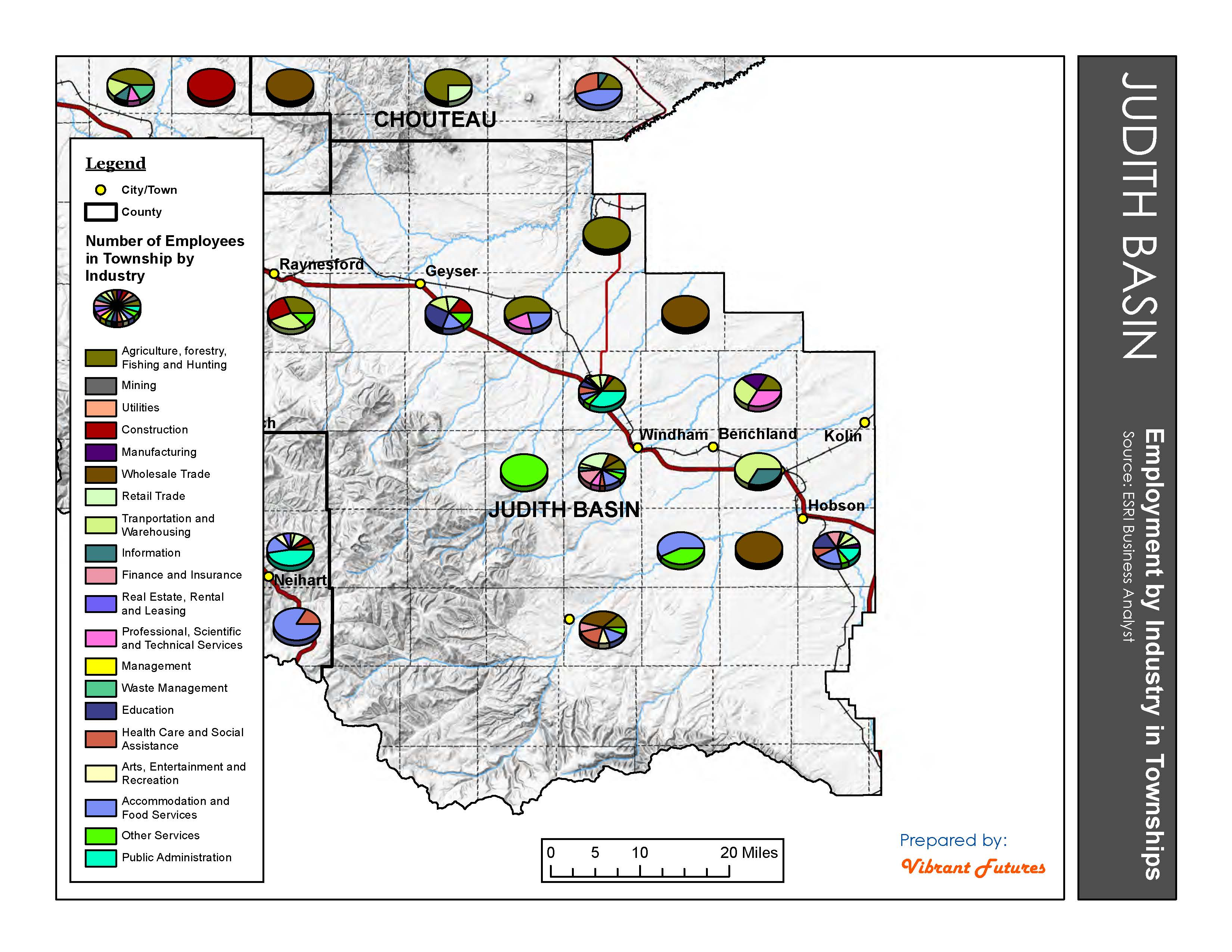 Employment by Industry in Townships Judith Basin County