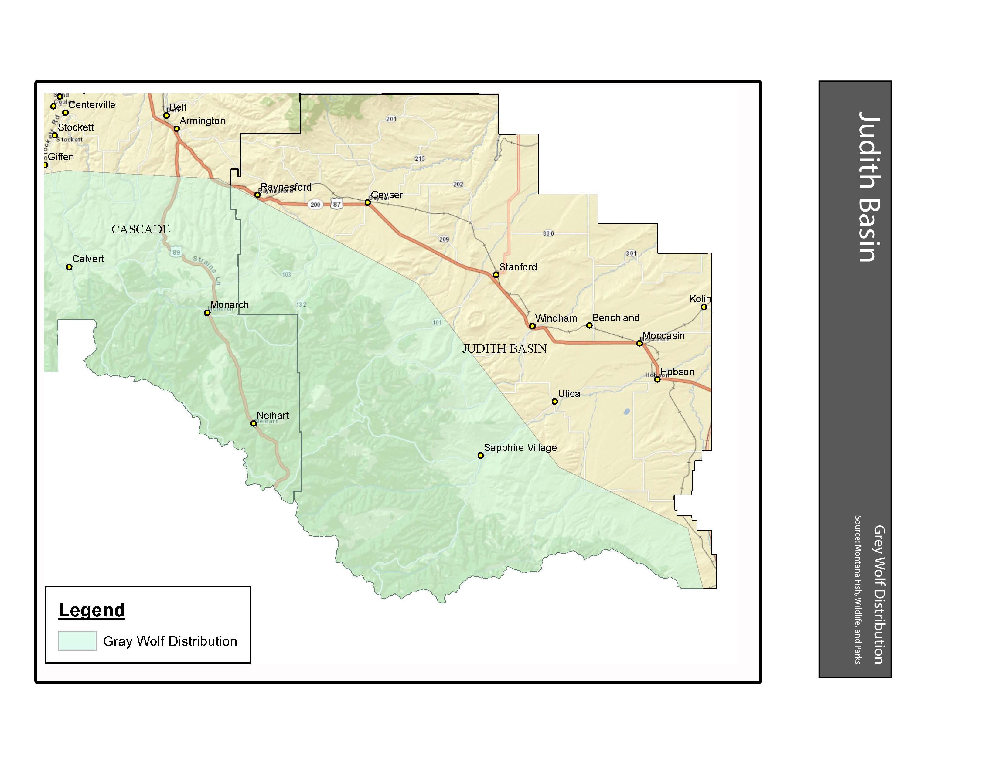 Gray Wolf Distribution Judith Basin County