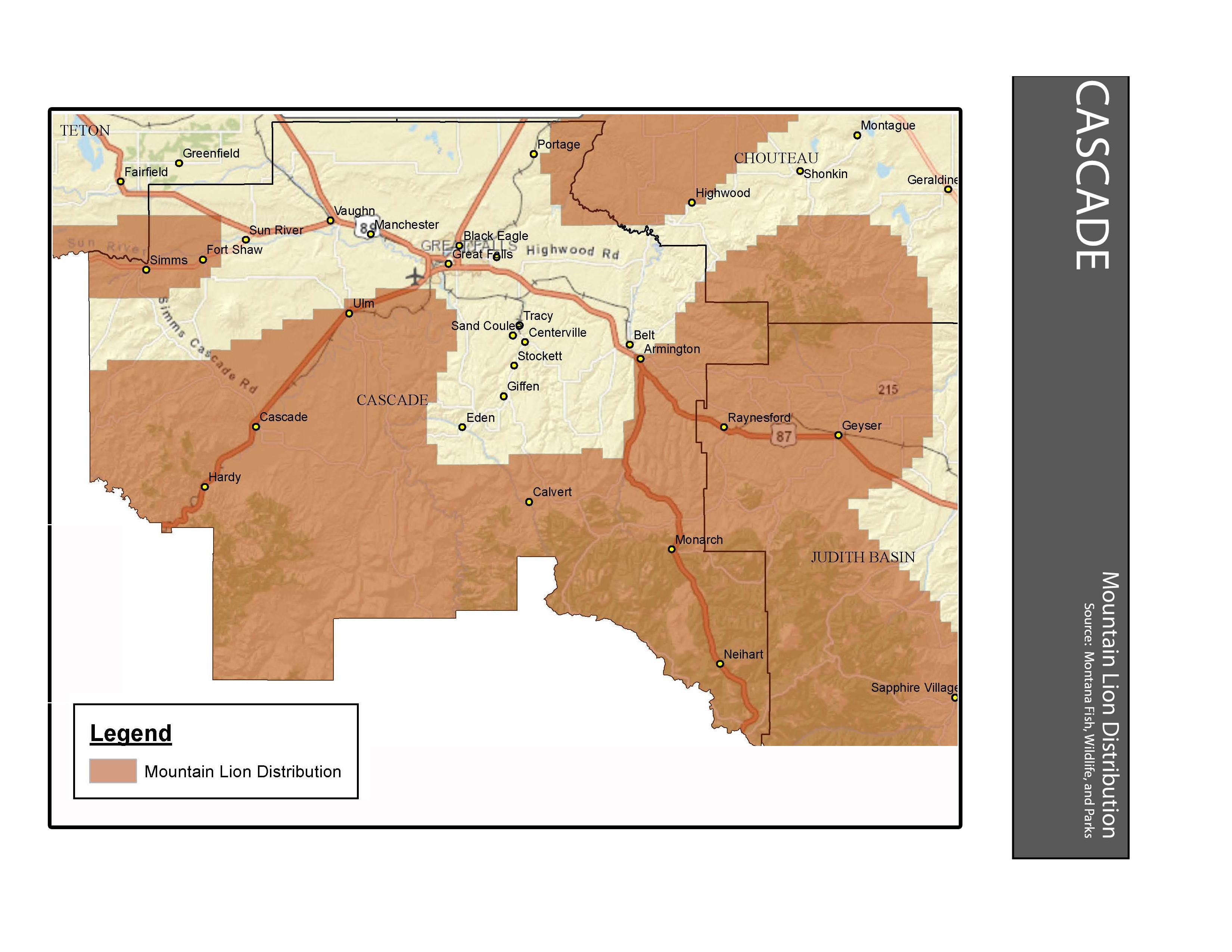 Mountain Lion Distribution Cascade County