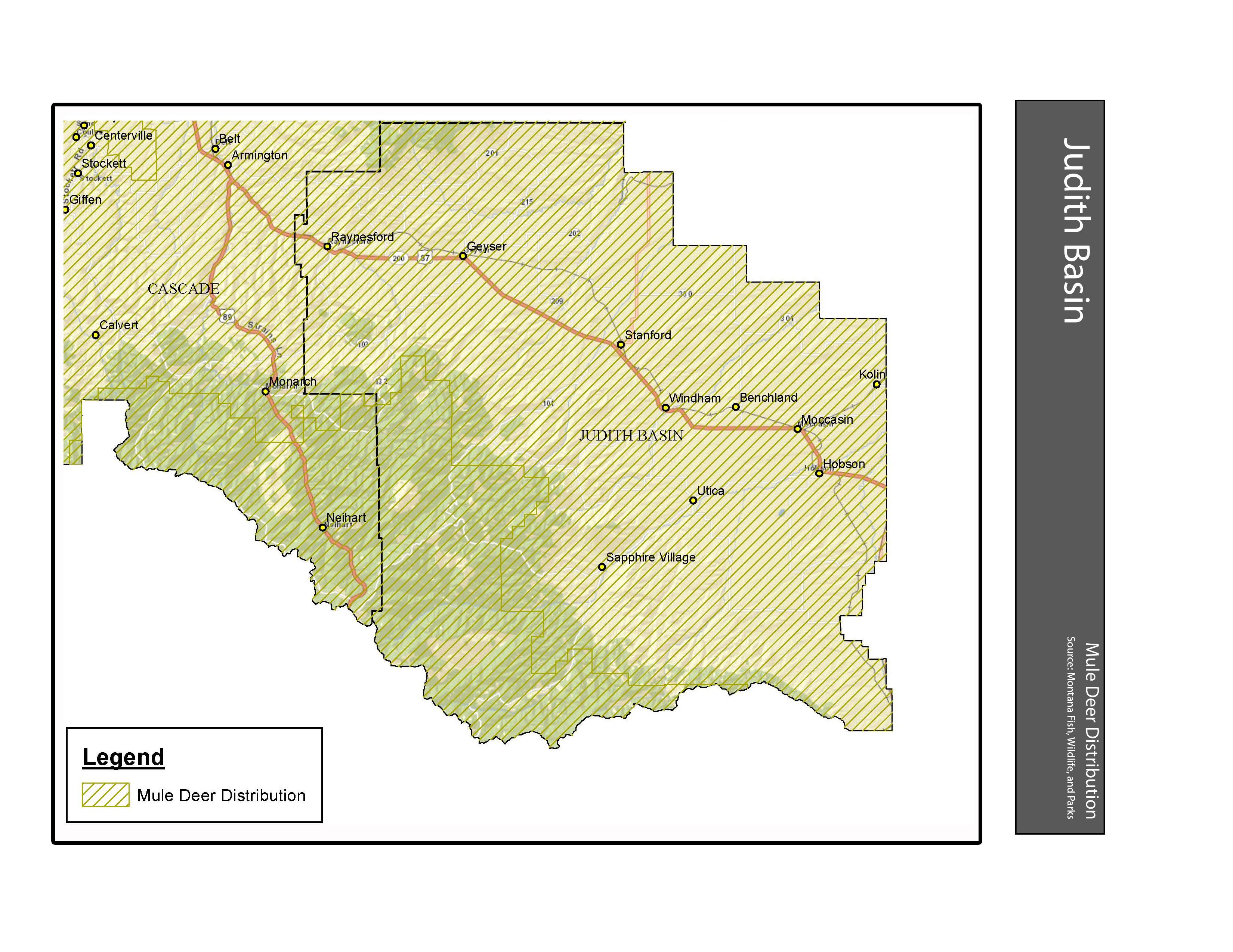 Mule Deer Distribution Judith Basin County