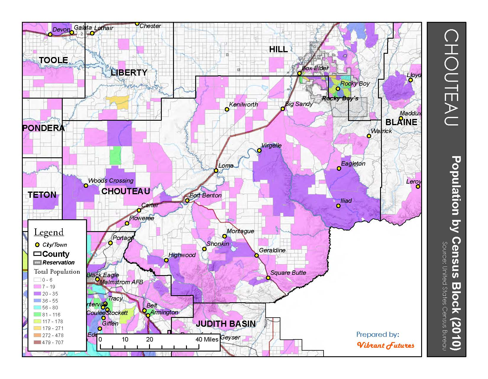 Population by Census Block 2010 Chouteau County