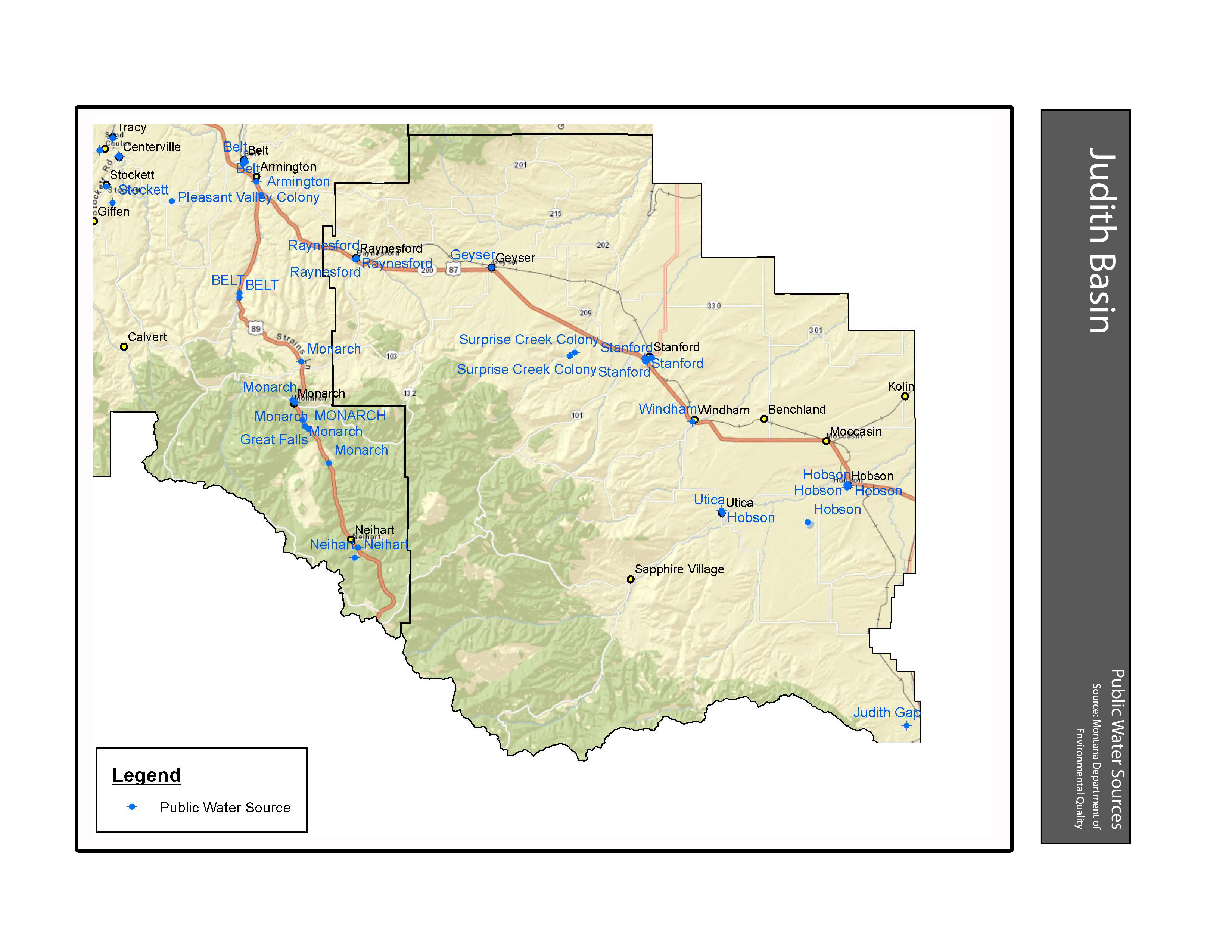 Public Water Sources Judith Basin County