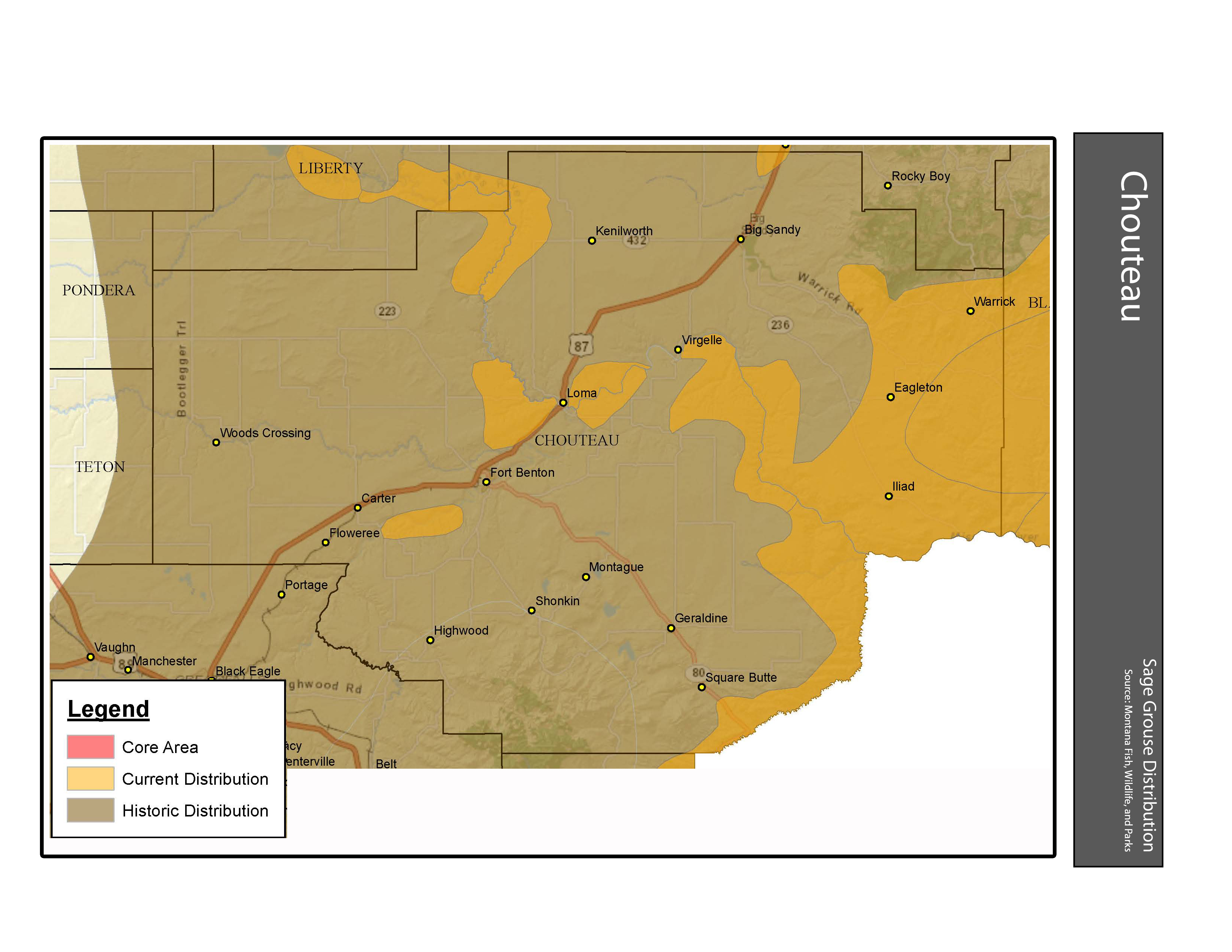 Sage Grouse Habitat and Distribution Chouteau County