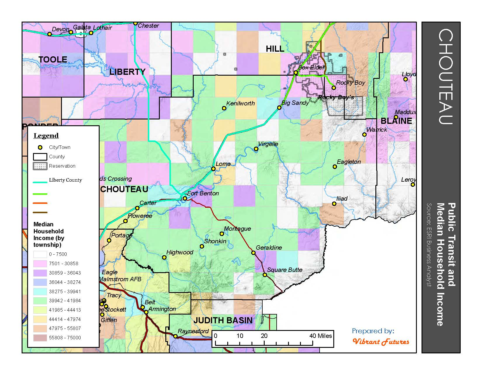 Transit and Income (by Township) Chouteau County