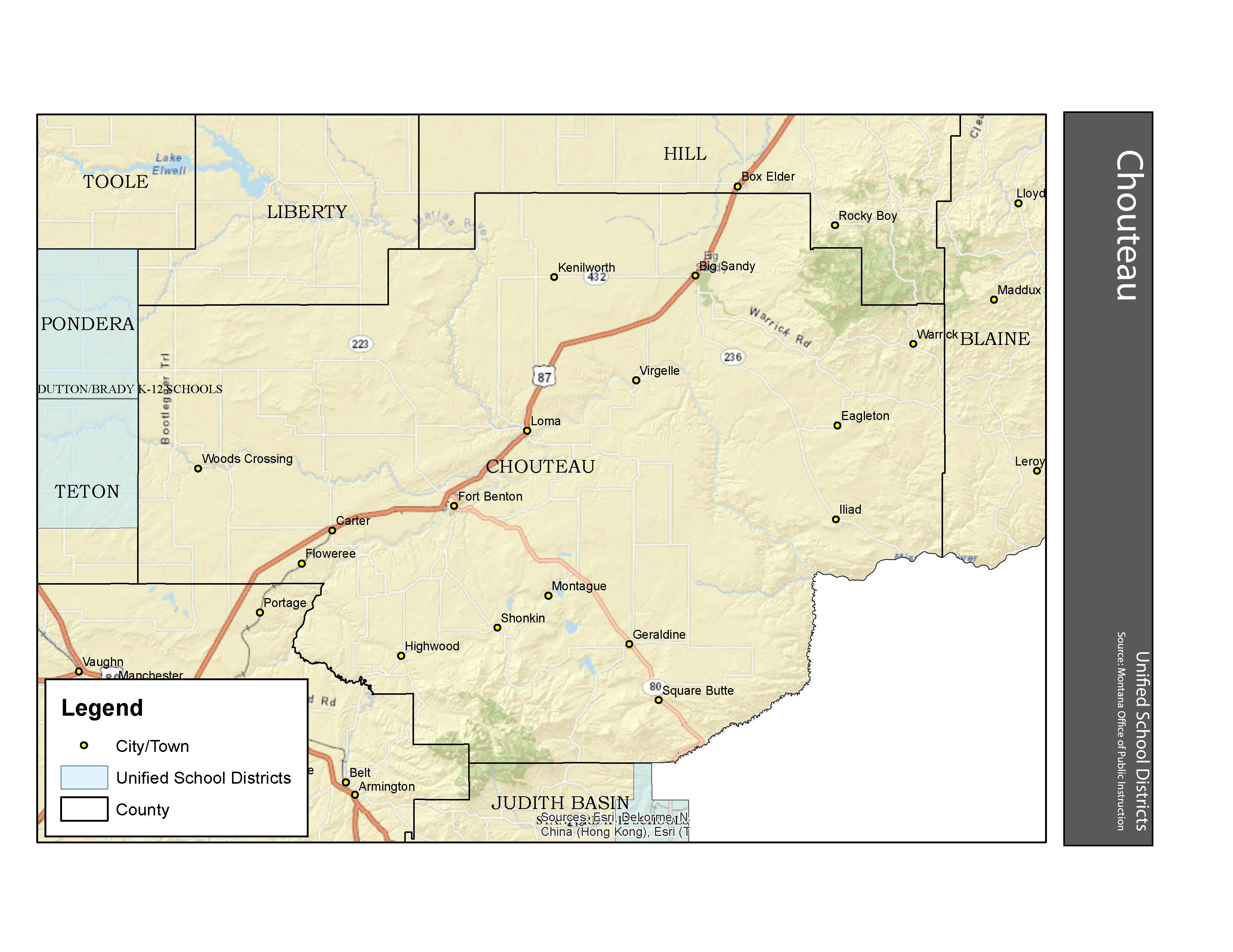 Unified School Districts Chouteau County