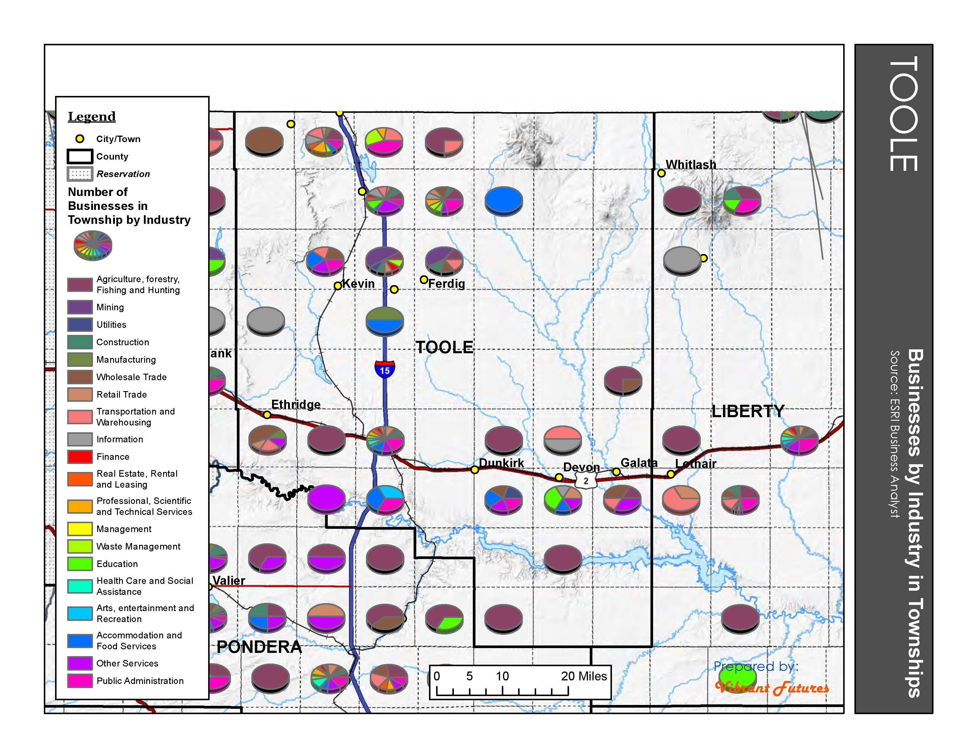 Businesses by Industry in Townships Toole County