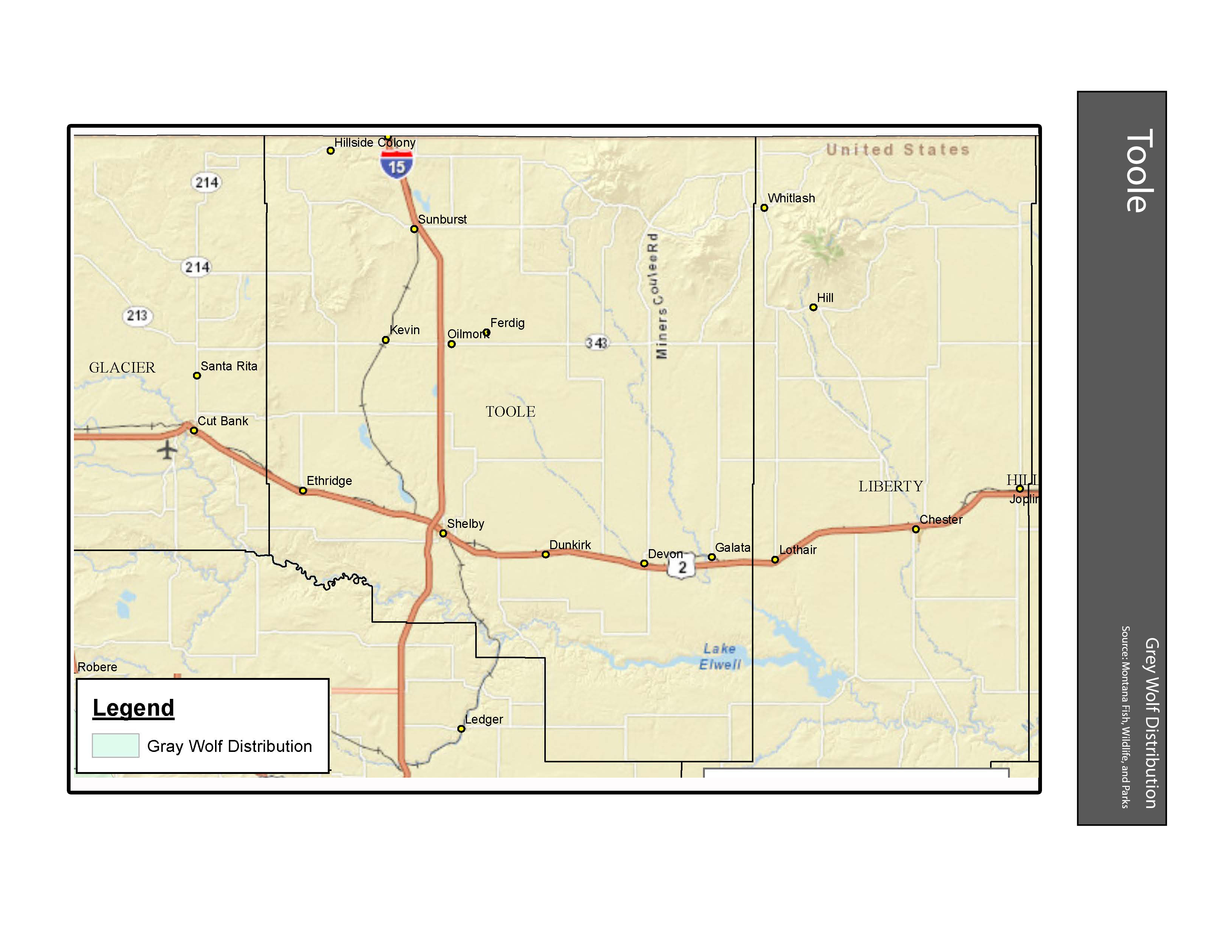 Gray Wolf Distribution Toole County