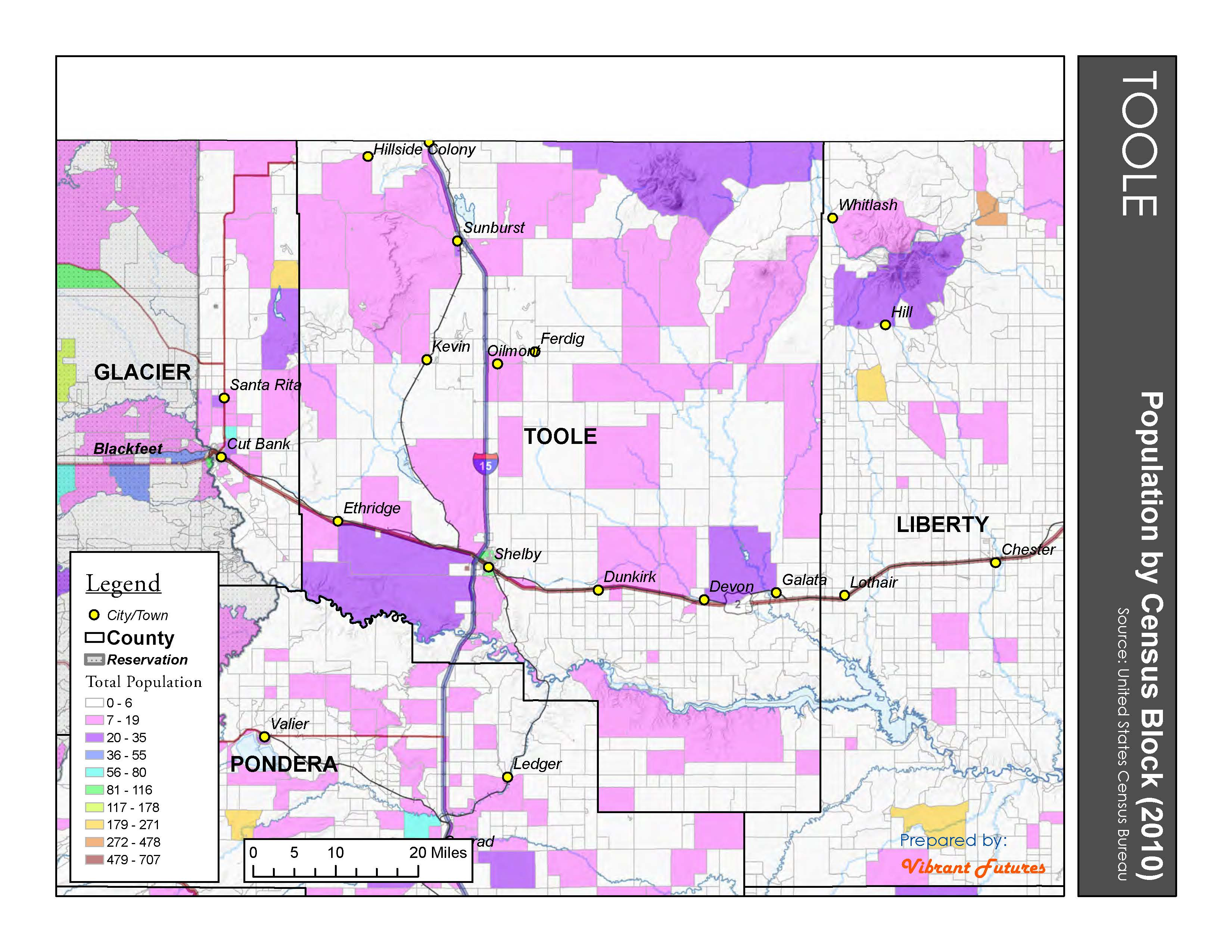 Population by Census Block 2010 Toole County